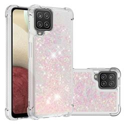 Dynamic Liquid Glitter Sand Quicksand TPU Case for Samsung Galaxy A12 - Silver Powder Star