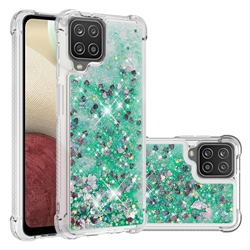 Dynamic Liquid Glitter Sand Quicksand TPU Case for Samsung Galaxy A12 - Green Love Heart