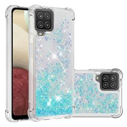 Dynamic Liquid Glitter Sand Quicksand TPU Case for Samsung Galaxy A12 - Silver Blue Star