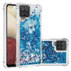 Dynamic Liquid Glitter Sand Quicksand TPU Case for Samsung Galaxy A12 - Blue Love Heart