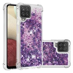 Dynamic Liquid Glitter Sand Quicksand Star TPU Case for Samsung Galaxy A12 - Purple