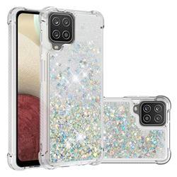 Dynamic Liquid Glitter Sand Quicksand Star TPU Case for Samsung Galaxy A12 - Silver