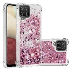 Dynamic Liquid Glitter Sand Quicksand Star TPU Case for Samsung Galaxy A12 - Diamond Rose