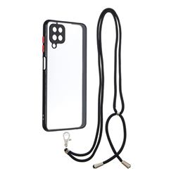 Necklace Cross-body Lanyard Strap Cord Phone Case Cover for Samsung Galaxy A12 - Black