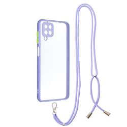 Necklace Cross-body Lanyard Strap Cord Phone Case Cover for Samsung Galaxy A12 - Purple