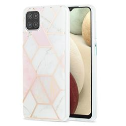 Pink White Marble Pattern Galvanized Electroplating Protective Case Cover for Samsung Galaxy A12
