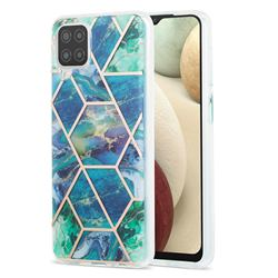Blue Green Marble Pattern Galvanized Electroplating Protective Case Cover for Samsung Galaxy A12
