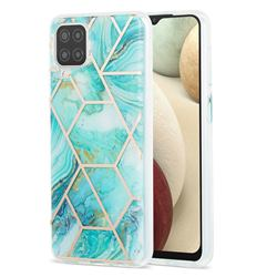Blue Sea Marble Pattern Galvanized Electroplating Protective Case Cover for Samsung Galaxy A12