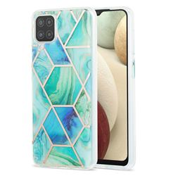 Green Glacier Marble Pattern Galvanized Electroplating Protective Case Cover for Samsung Galaxy A12