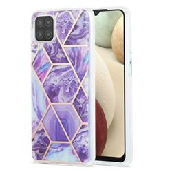 Purple Gagic Marble Pattern Galvanized Electroplating Protective Case Cover for Samsung Galaxy A12