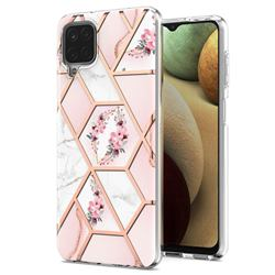Pink Flower Marble Electroplating Protective Case Cover for Samsung Galaxy A12