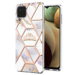 Crown Purple Flower Marble Electroplating Protective Case Cover for Samsung Galaxy A12