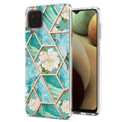 Blue Chrysanthemum Marble Electroplating Protective Case Cover for Samsung Galaxy A12