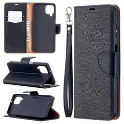 Classic Luxury Litchi Leather Phone Wallet Case for Samsung Galaxy A12 - Black
