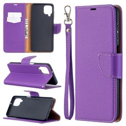 Classic Luxury Litchi Leather Phone Wallet Case for Samsung Galaxy A12 - Purple