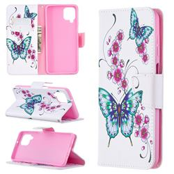 Peach Butterflies Leather Wallet Case for Samsung Galaxy A12