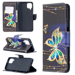 Golden Shining Butterfly Leather Wallet Case for Samsung Galaxy A12