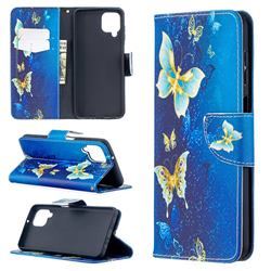 Golden Butterflies Leather Wallet Case for Samsung Galaxy A12