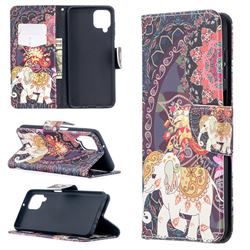 Totem Flower Elephant Leather Wallet Case for Samsung Galaxy A12