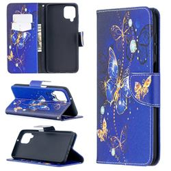 Purple Butterfly Leather Wallet Case for Samsung Galaxy A12