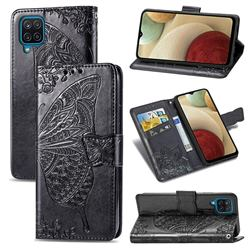 Embossing Mandala Flower Butterfly Leather Wallet Case for Samsung Galaxy A12 - Black