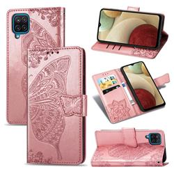 Embossing Mandala Flower Butterfly Leather Wallet Case for Samsung Galaxy A12 - Rose Gold