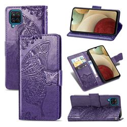 Embossing Mandala Flower Butterfly Leather Wallet Case for Samsung Galaxy A12 - Dark Purple