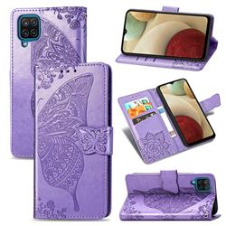 Embossing Mandala Flower Butterfly Leather Wallet Case for Samsung Galaxy A12 - Light Purple