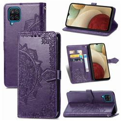 Embossing Imprint Mandala Flower Leather Wallet Case for Samsung Galaxy A12 - Purple