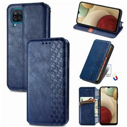 Ultra Slim Fashion Business Card Magnetic Automatic Suction Leather Flip Cover for Samsung Galaxy A12 - Dark Blue