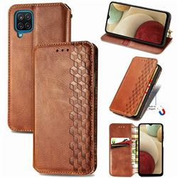 Ultra Slim Fashion Business Card Magnetic Automatic Suction Leather Flip Cover for Samsung Galaxy A12 - Brown