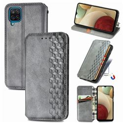 Ultra Slim Fashion Business Card Magnetic Automatic Suction Leather Flip Cover for Samsung Galaxy A12 - Grey