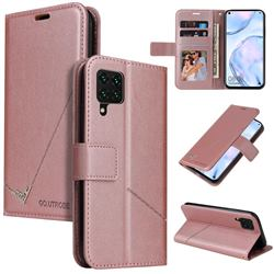 GQ.UTROBE Right Angle Silver Pendant Leather Wallet Phone Case for Samsung Galaxy A12 - Rose Gold