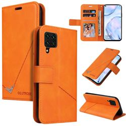 GQ.UTROBE Right Angle Silver Pendant Leather Wallet Phone Case for Samsung Galaxy A12 - Orange