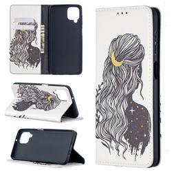 Girl with Long Hair Slim Magnetic Attraction Wallet Flip Cover for Samsung Galaxy A12