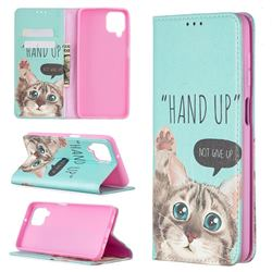 Hand Up Cat Slim Magnetic Attraction Wallet Flip Cover for Samsung Galaxy A12