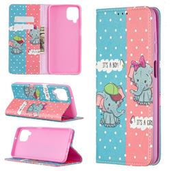 Elephant Boy and Girl Slim Magnetic Attraction Wallet Flip Cover for Samsung Galaxy A12