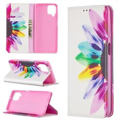 Sun Flower Slim Magnetic Attraction Wallet Flip Cover for Samsung Galaxy A12