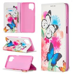 Flying Butterflies Slim Magnetic Attraction Wallet Flip Cover for Samsung Galaxy A12