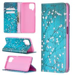 Plum Blossom Slim Magnetic Attraction Wallet Flip Cover for Samsung Galaxy A12