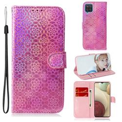 Laser Circle Shining Leather Wallet Phone Case for Samsung Galaxy A12 - Pink