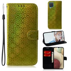 Laser Circle Shining Leather Wallet Phone Case for Samsung Galaxy A12 - Golden