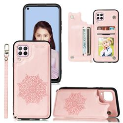 Luxury Mandala Multi-function Magnetic Card Slots Stand Leather Back Cover for Samsung Galaxy A12 - Rose Gold