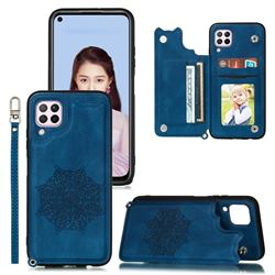 Luxury Mandala Multi-function Magnetic Card Slots Stand Leather Back Cover for Samsung Galaxy A12 - Blue