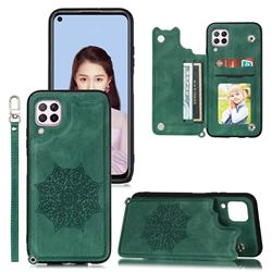 Luxury Mandala Multi-function Magnetic Card Slots Stand Leather Back Cover for Samsung Galaxy A12 - Green