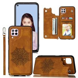 Luxury Mandala Multi-function Magnetic Card Slots Stand Leather Back Cover for Samsung Galaxy A12 - Brown