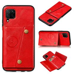 Retro Multifunction Card Slots Stand Leather Coated Phone Back Cover for Samsung Galaxy A12 - Red
