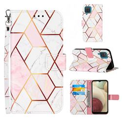 Pink White Stitching Color Marble Leather Wallet Case for Samsung Galaxy A12