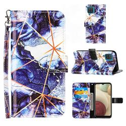 Starry Blue Stitching Color Marble Leather Wallet Case for Samsung Galaxy A12
