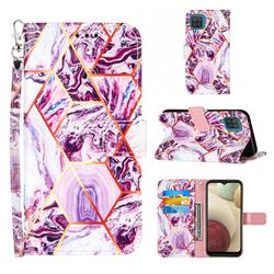 Dream Purple Stitching Color Marble Leather Wallet Case for Samsung Galaxy A12